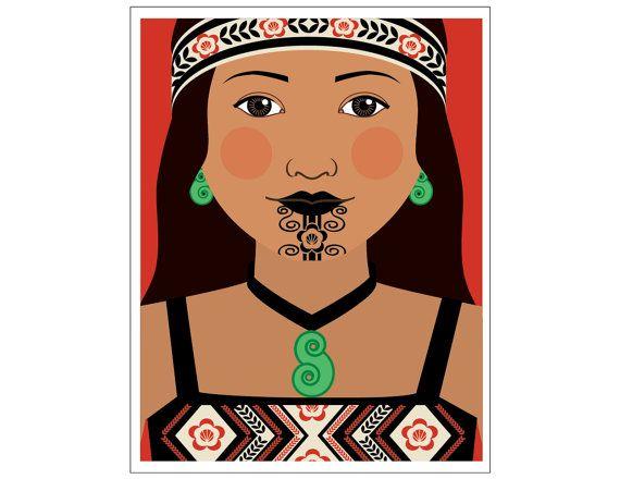 Maori Dancer Matryoshka CloseUp Art Print Kids Wall by AmyPerrotti