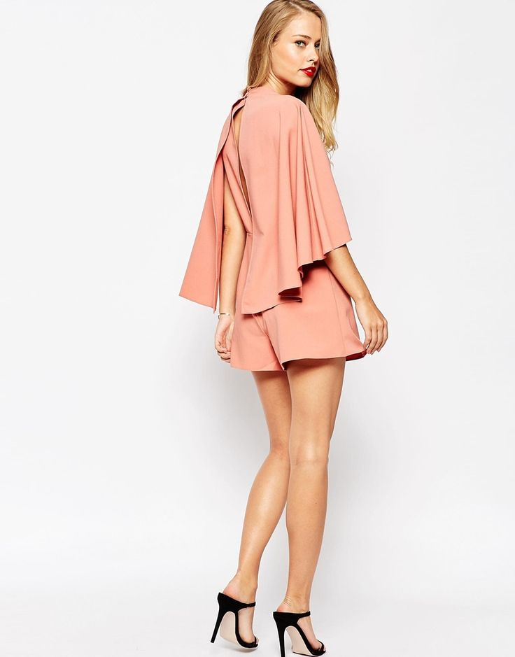 Image 4 of ASOS Occasion Playsuit with Cape and Keyhole