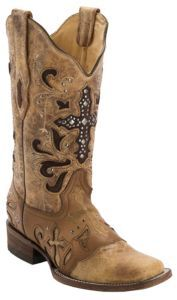 Corral Women's Antique Saddle w/ Stud Cross Square Toe Western Boot | Cavender's