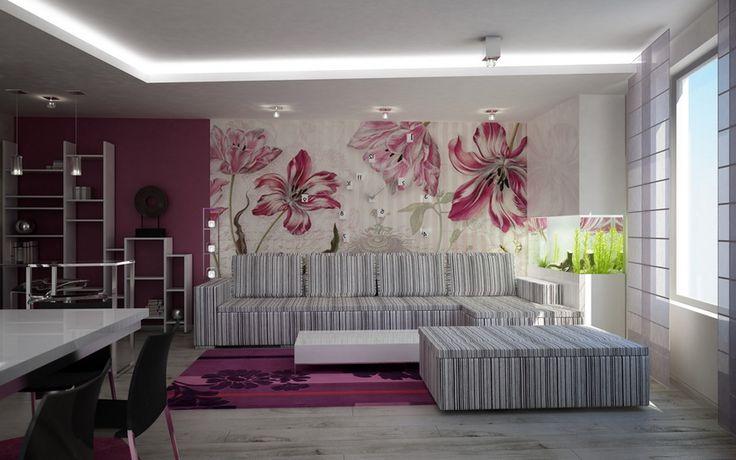 полосатый диван, цветочная стена