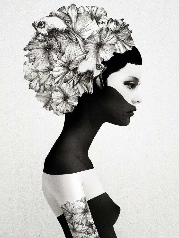 Grafický plakát Marianna s profilem dívky