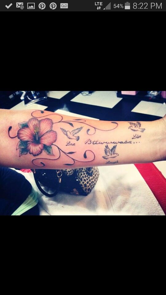 Arm tattoo girls # hibiscus flower # doves tattoo . Beauty and the Beast salon