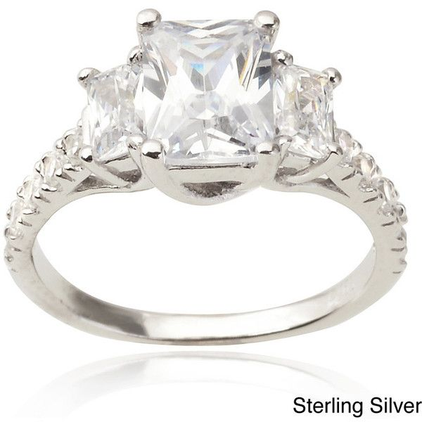 Journee Collection Sterling three stone CZ Bridal & Engagement Ring... ($39) ❤ liked on Polyvore featuring jewelry, rings, white, cubic zirconia rings, 3 stone ring, bridal engagement rings, three stone ring and zirconia rings