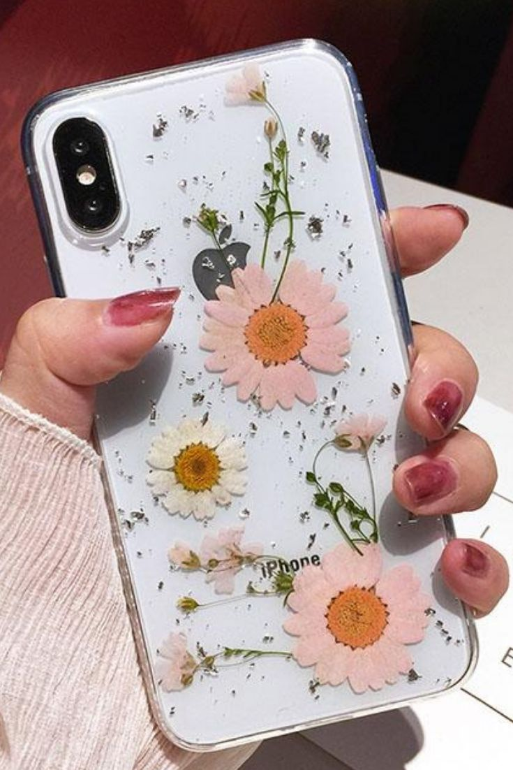 Luxe Pressed Flower Protective Phone Cases For iPhone XS