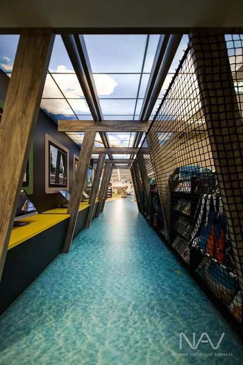 Navurban™ Fremantle | As part of the Glenelg Primary School refurbishment, the library area was transformed into a space replicating the well known Glenelg Jetty. The 'timber' pylons feature Navurban™ Fremantle pressed onto Navcore™ lightweight blockboard.