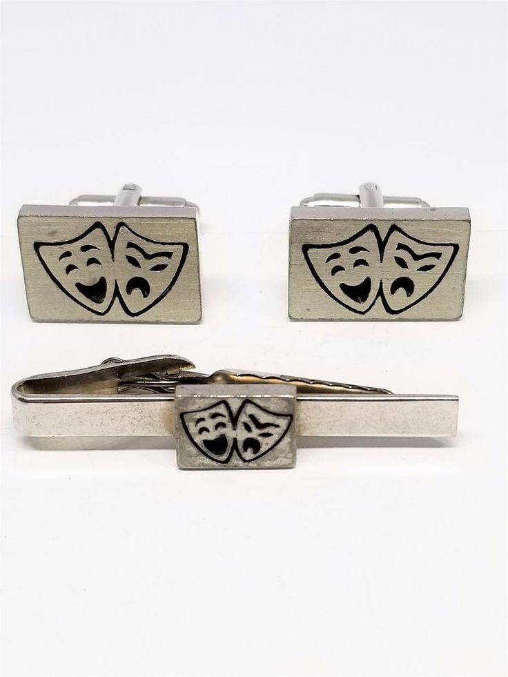 Comedy and Tragedy Mask Vintage Cufflinks Tie Clip Cuff Links