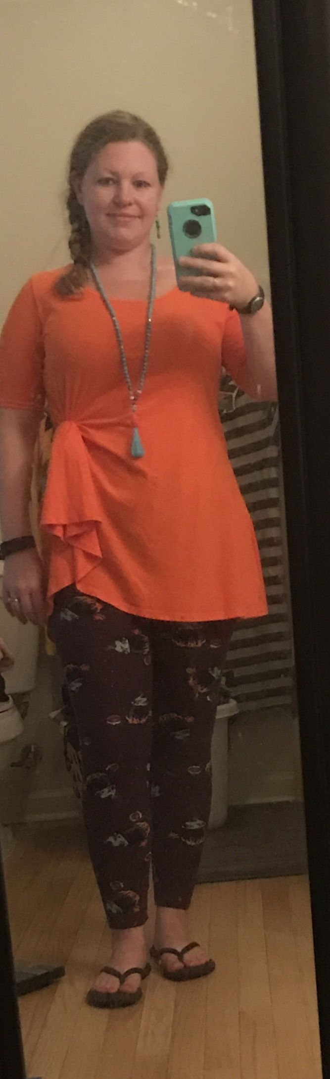 A different way to wear a LuLaRoe Perfect T! Dresses it up a bit. Plus I love my cauldron Halloween leggings. -Tiffany