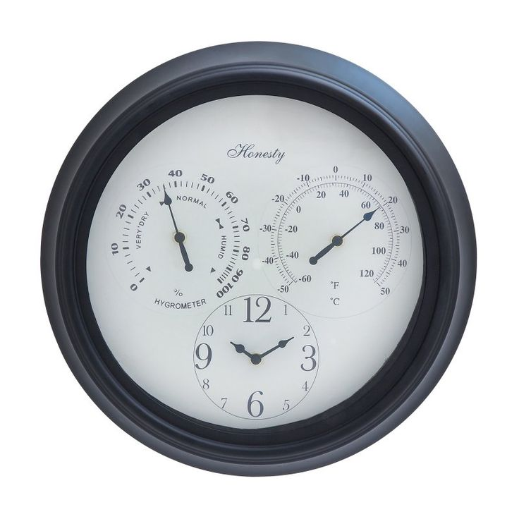 DecMode Round Metal 14 in. Outdoor Wall Clock and Weather Station - 35431