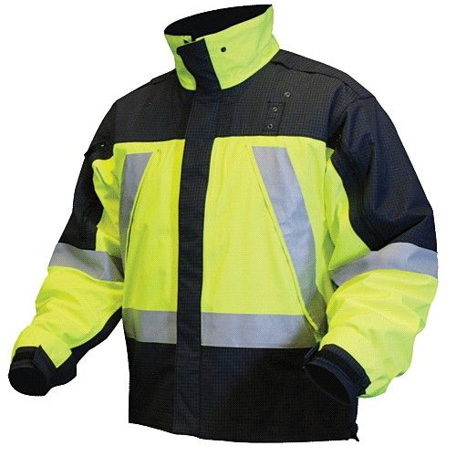 Blauer hi vis jackets. This product's waterproof, windproof, and breathable 3-layer GORE-TEX® fabric provides comfort and protection and includes a high neck collar with chin guard.