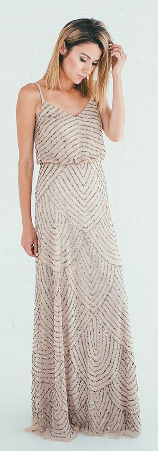 Blush Sequin Embellished Maxi Dress by Hello Fashion