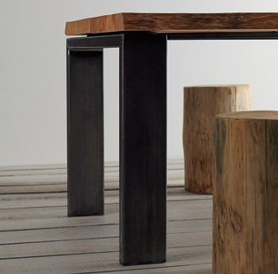 Tavolo in legno con gambe metallo - Tavolo piano in legno cedro naturale