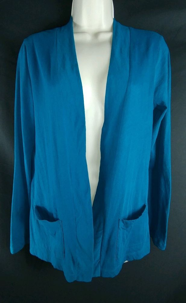 """~Blue, long sleeve, 100% Cotton, open cardigan. ~J. Crew. ~Ladies Size S – 36"""" around the bust. From the top of the shoulders, to the very bottom of the hem, the length is 28"""" long. 