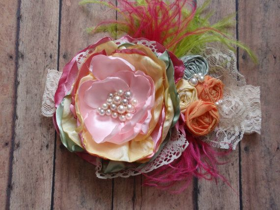 Spring/SummerHeadband, Vintage Handmade Headband, Shabby Chic Hair Accessory, Kids Hair Accessory, Kids Photo Prop, Oversized Headband