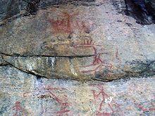 Prehistoric red ochre painted rock art, Astuvansalmi, Finland