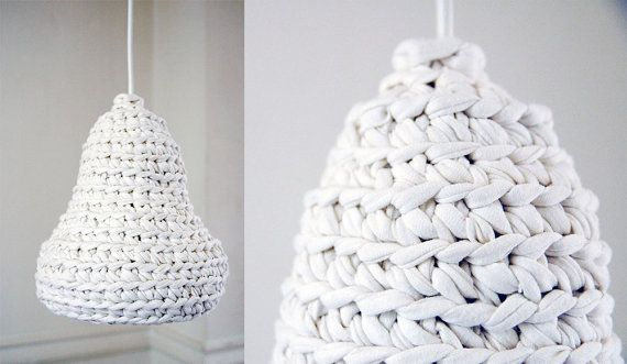 Snowdrop Crochet Lamp Made from Upcycled Tshirt Yarn / by buubok
