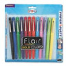 Pen/Pencils/Markets: Flair Felt Tip Marker Pen, Assorted Ink, Medium, Dozen