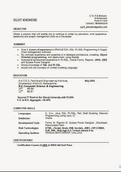 how do you write a curriculum vitae ExcellentCV \/ Resume with - j2ee jsp resume