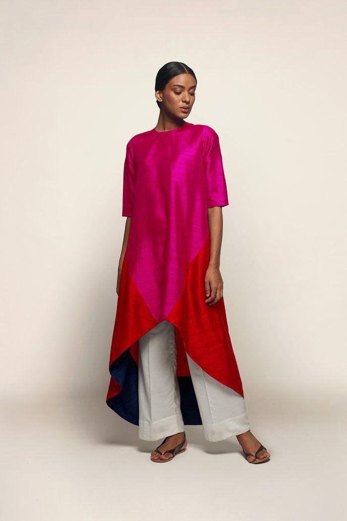 Dupion Silk High Low Kurta Fashion Kurta Designs Clothes
