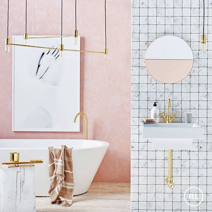 """989 Likes, 22 Comments - Real Living Magazine (@reallivingmag) on Instagram: """"Pink is perfect in the bathroom, especially when teamed with marble and brass! #bathroom…"""""""