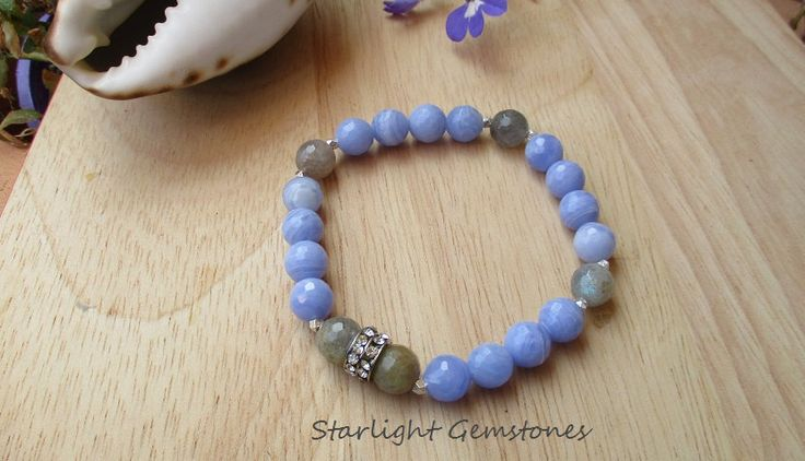 Combination of Labradorite and Faceted Angelite Gemstone Bracelet with Hill Tribe Silver Spacers & Rhinestone Accent Spacer. by StarlightGemstones on Etsy