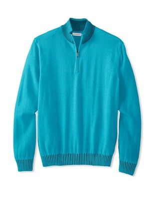 67% OFF Alex Cannon Men's Long Sleeve 1/4 Zip Mock Sweater (Azure)
