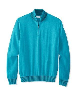 67% OFF Alex Cannon Men's Long Sleeve 1/4 Zip Mock Sweater (Azure)