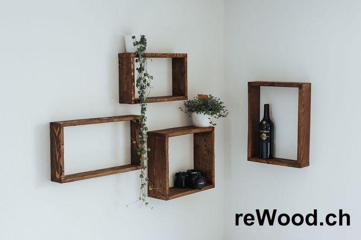 Wandregal von reWood //  Set mit drei Holzkisten in verschiedenen Grössen zum Aufhängen oder Stapeln  // Palettenmöbel aus der Schweiz, Bern, Biel // marcorothphotography.ch