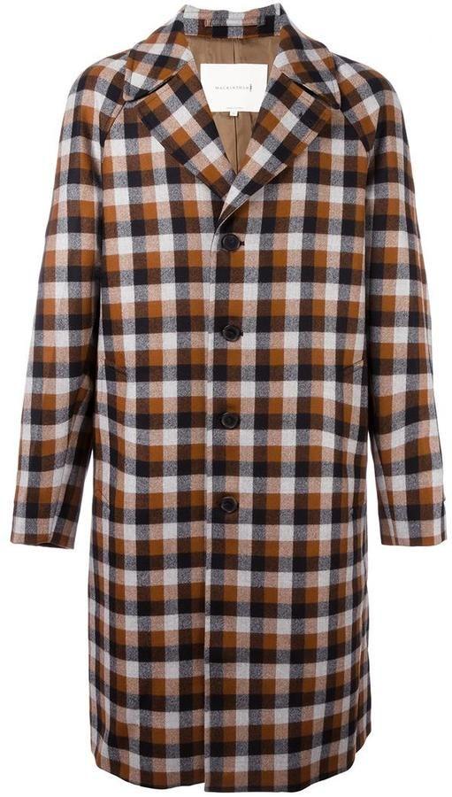 Mackintosh plaid single breasted coat