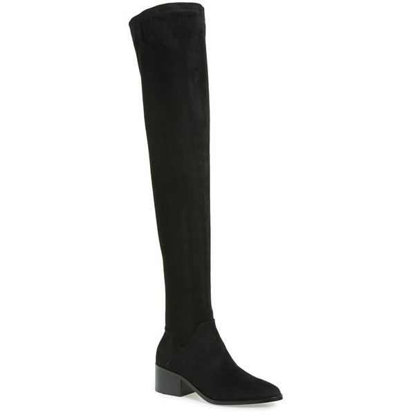 Women's Steve Madden Gabriana Stretch Over The Knee Boot (705 CNY) ❤ liked on Polyvore featuring shoes, boots, black, stacked heel boots, black over-the-knee boots, steve madden boots, chunky-heel boots and black over the knee boots