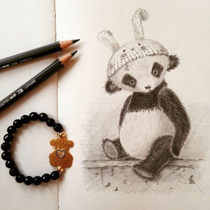 Teddy bear panda drawing with pencils