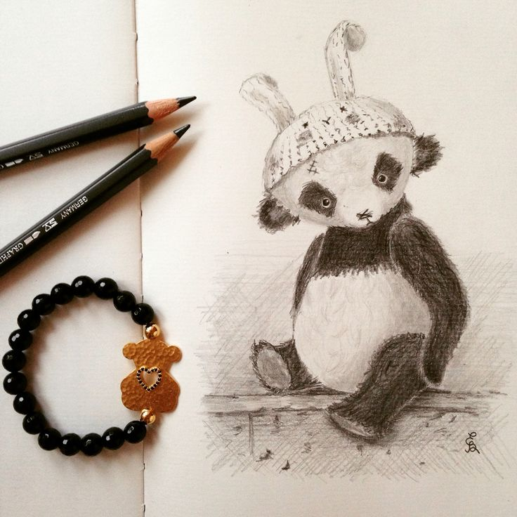 Teddy bear panda drawing with pencils