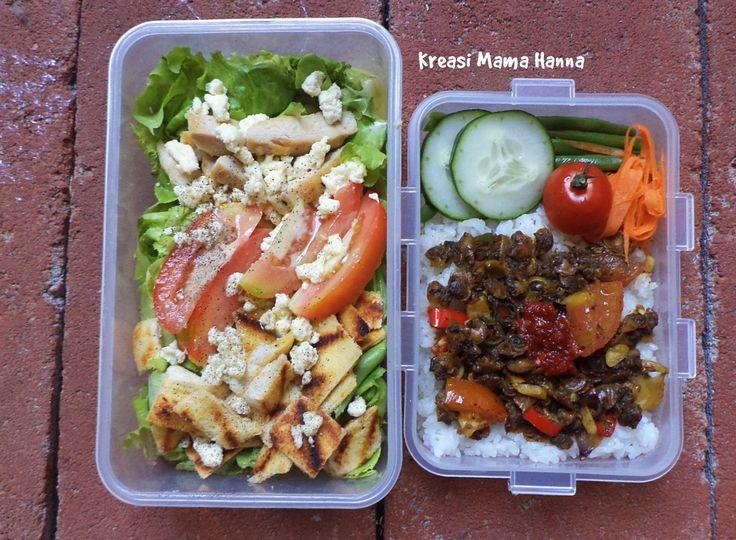 Left - Me: Salad selada, lettuce, ayam dan roti panggang, tomat, panner (keju). Dressing: Olive oli, mustard, salt dan pepper, perasan nipis, mayonaise Right - for Him: Nasi, Tumis Kerang, Timun, Tomat, Wortel, Buncis