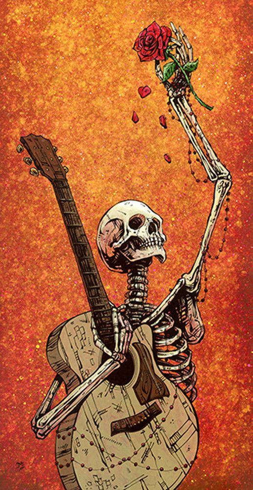 Until The Last Note by David Lozeau Skeleton Guitar Canvas Art Print