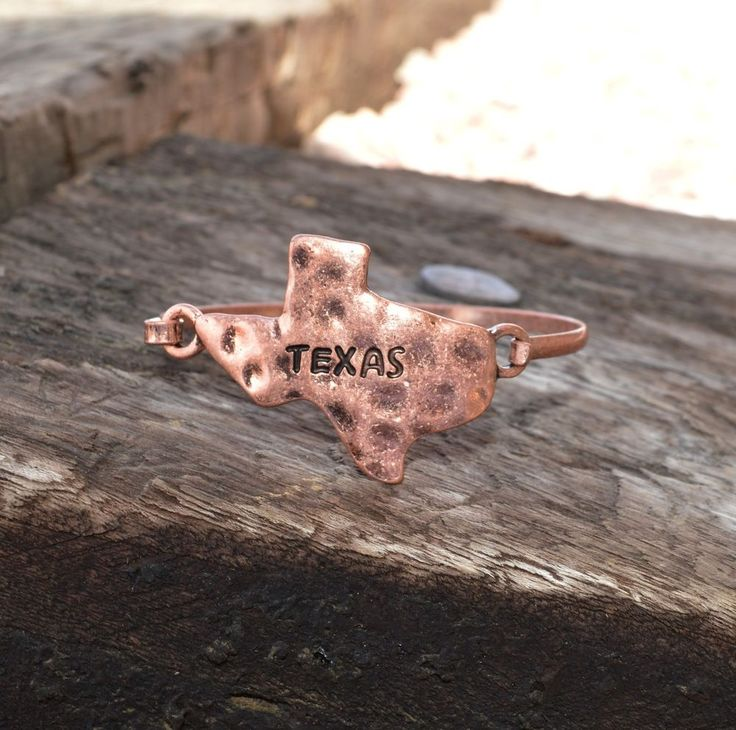 "Cowgirl Bling TEXAS Hammered Copper tone Bangle Rustic Western Bracelet 7"" #Unbranded #Bangle"