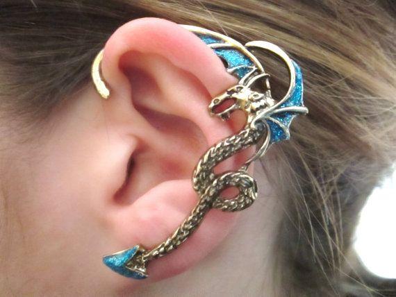 Blue glitter dragon ear cuff  blue dragon ear cuff by StylesBiju, $16.90