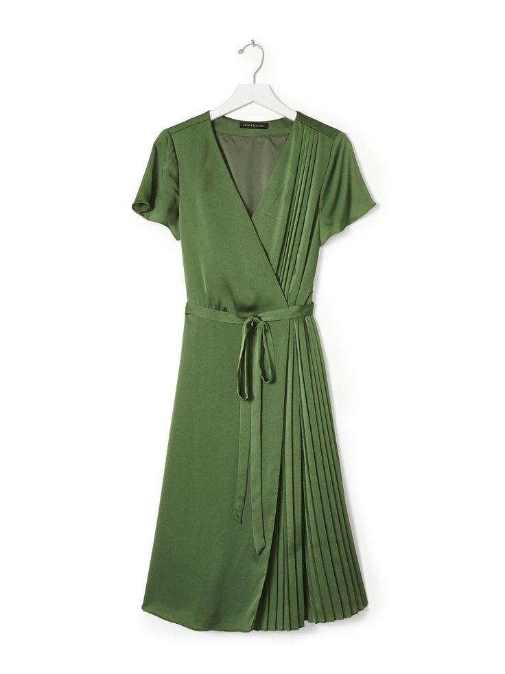 Pleated Wrap Dress | Banana Republic