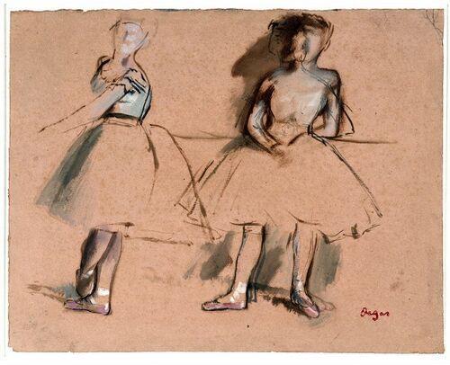 Edgar Hilaire Germain Degas  Twee balletdanseressen aan de barre  circa 1872
