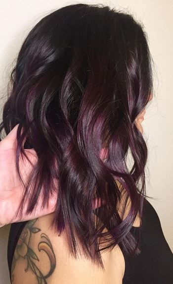 Brunette shaded plum. Or plum shaded brunette.  Color by Lindsey Glova.  Filed under: Hair Color, Hair Styles, Hair Stylists Tagged: beauty, brunette, hair, hair color, hairstyles, PURPLE HAIR, style,