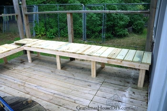 Wood Outdoor Table Out Door Bench Plan Built Into A Corner Of A