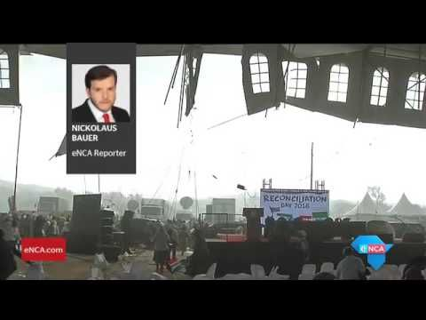 16 December 'Strong winds interrupts Zuma's speech' - President Jacob Zuma was whisked away by his security detail, after a storm interrupted his Reconciliation Day speech at Gopane, North West Province , SA. eNCA's Nickolaus Bauer reports