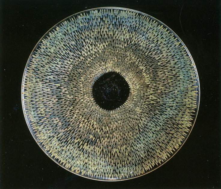 František Tejml; decorative zoomorphic glass disc covered by golden fish scraps, painted & executed in gold, 1956, D: 27,5 cm, UMPRUM Prague, Czechoslovakia