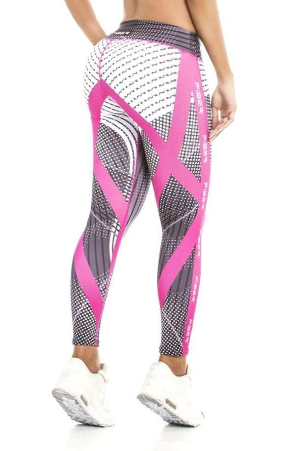 Fiber - Pink Black and White Stripe Leggings - Roni Taylor Fit - 2: Cute Women's workout clothes | Gym Clothes | Fitness Apparel Shop @ FitnessApparelExp...