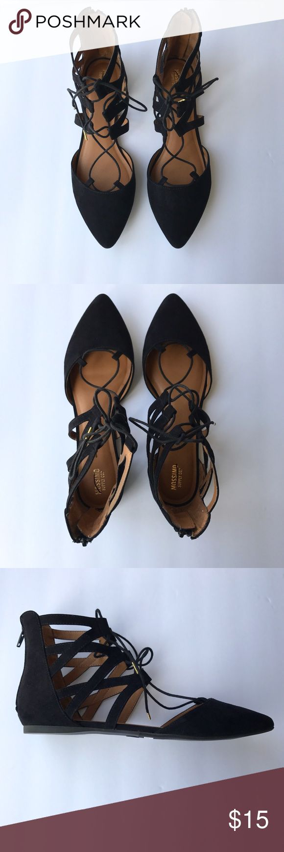 • Mossimo • black lace up flats Gorgeous strappy shoes are black and so stylish! Very comfortable and elegant. Can be dressed up or dress down. Mossimo Supply Co. Shoes Flats & Loafers