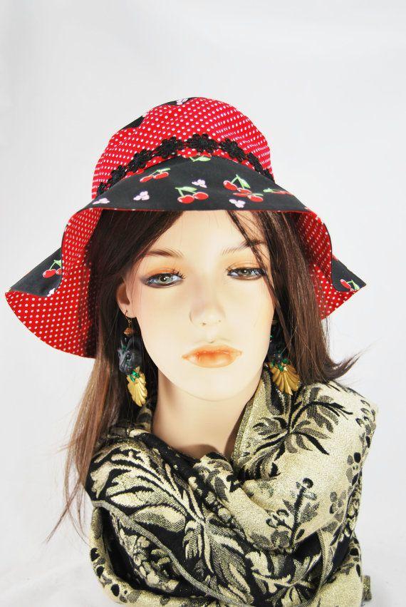 Cherry & Black Daisy Girl's Sunhat
