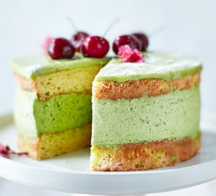 A popular ingredient in Asian desserts, matcha powder is made from finely ground green tea leaves. This pretty cake with white chocolate glaze and cherries is a bit of a challenge but worth it