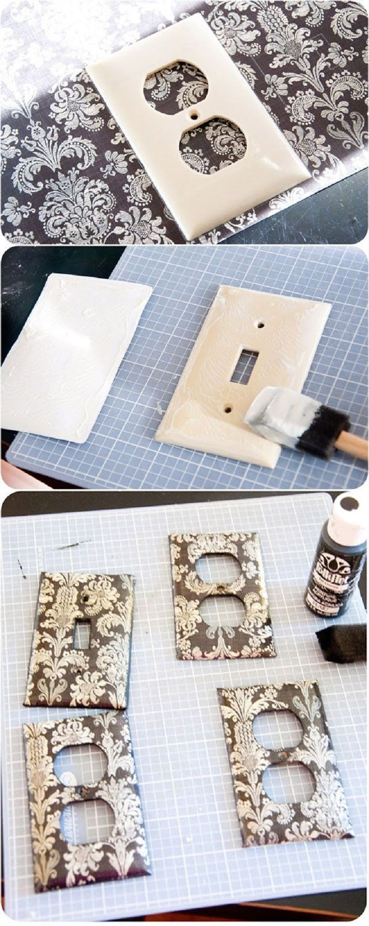 DIY switch plate covers wrapped in scrapbook paper could really make a big impact with very little effort or expense.