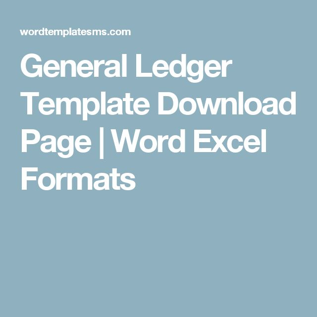 General Ledger Template Download Page | Word Excel Formats