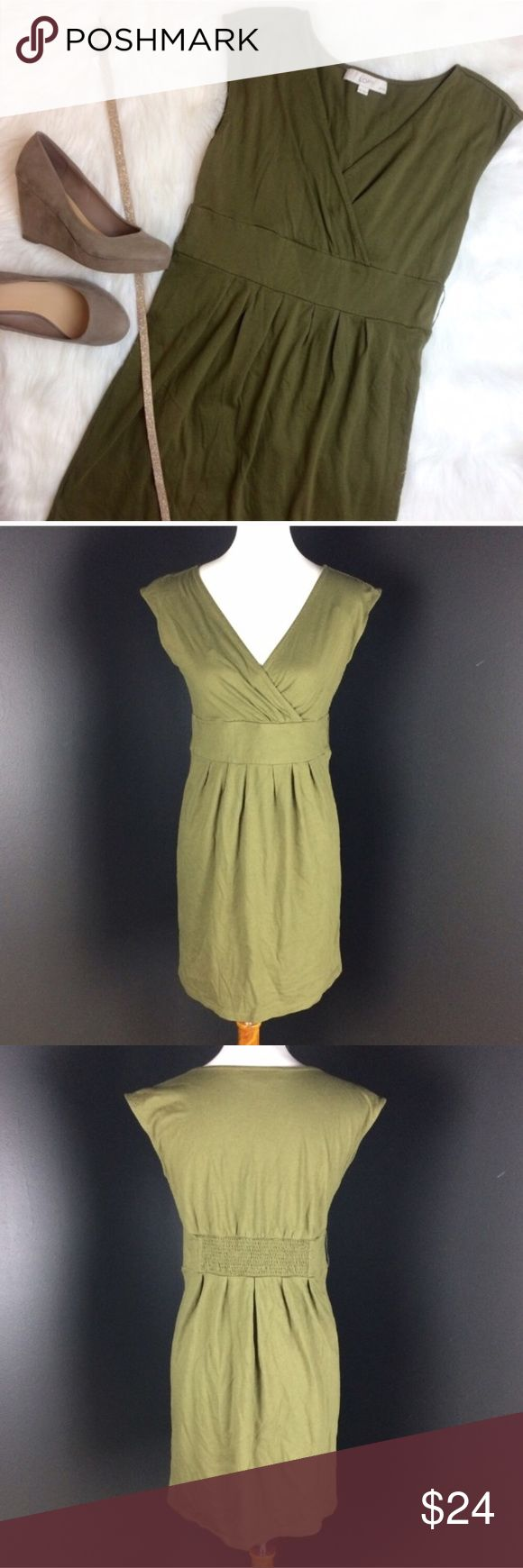"""LOFT Olive Green Dress Perfect olive green dress from the Loft. Has crossover style v-neck. Has loops for a belt or can be worn without a belt. Excellent condition. Size Medium Petite. Armpit to armpit is 17 3/4"""", waist is 15"""", length is 32.5"""". LOFT Dresses"""