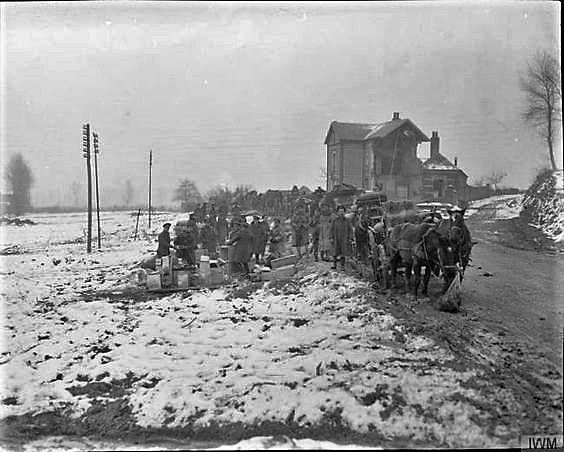 Horse wagons of the Army Service Corps at a roadside dump for supplies. Albert, Somme, March 1917. The largest element of the ASC was the Horse Transport section. Most Horse Transport Companies were under orders of Divisions, with four normally being grouped into a Divisional Train. Others were part of the Lines of Communication where they were variously known by subtitles as Auxiliary Supply Companies or Reserve Parks. Soldiers who served in the Horse Transport usually had the prefix T