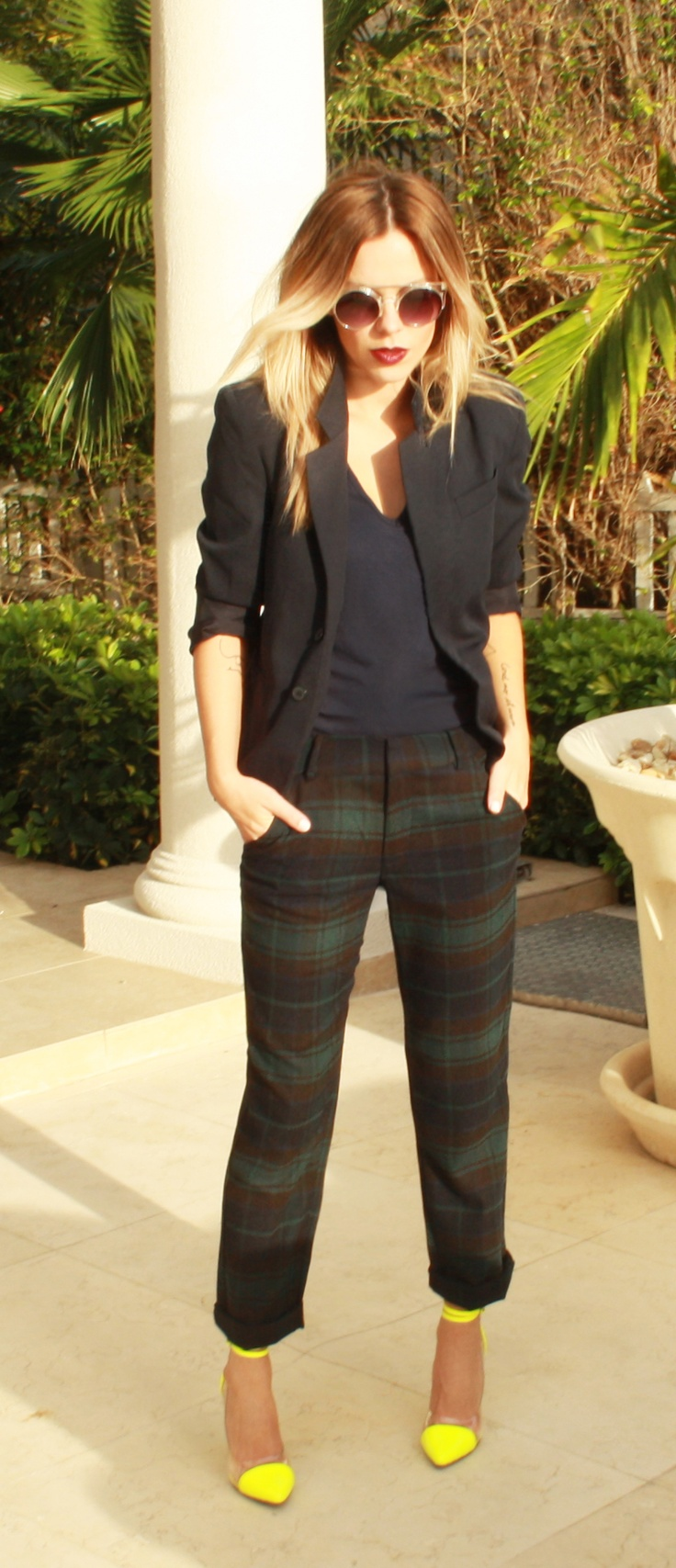 Plaid pants / neon pumps / navy blazer
